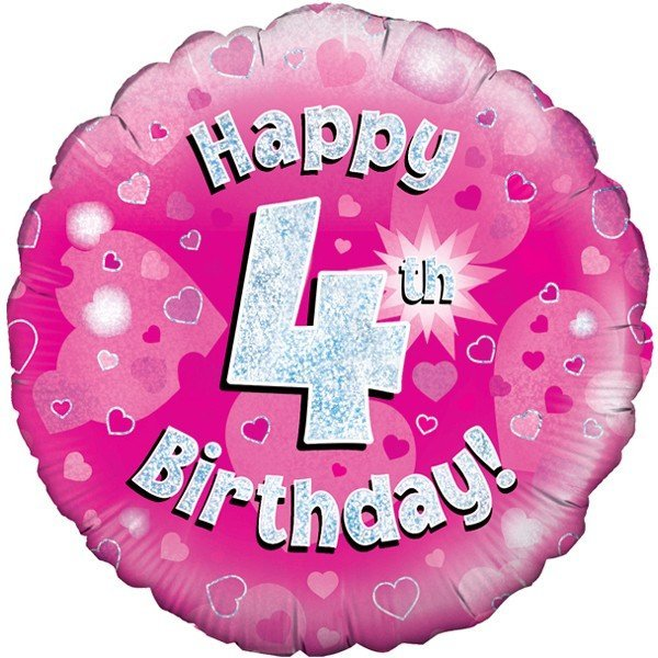 Oaktree 18 Inch Happy 4th Birthday Pink Holographic