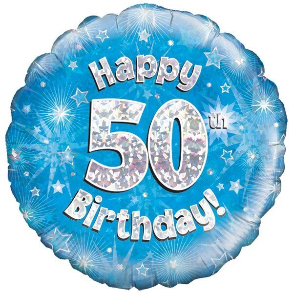 Oaktree 18 Inch Happy 50th Birthday Blue Holographic