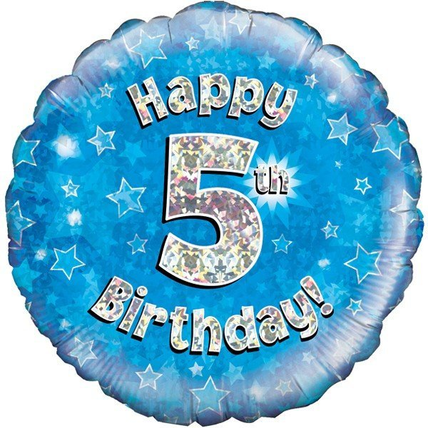 Oaktree 18 Inch Happy 5th Birthday Blue Holographic