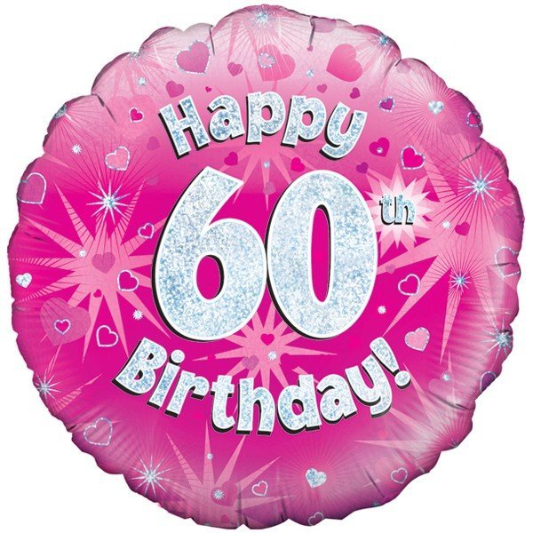 Oaktree 18 Inch Happy 60th Birthday Pink Holographic