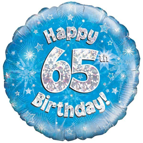 Oaktree 18 Inch Happy 65th Birthday Blue Holographic