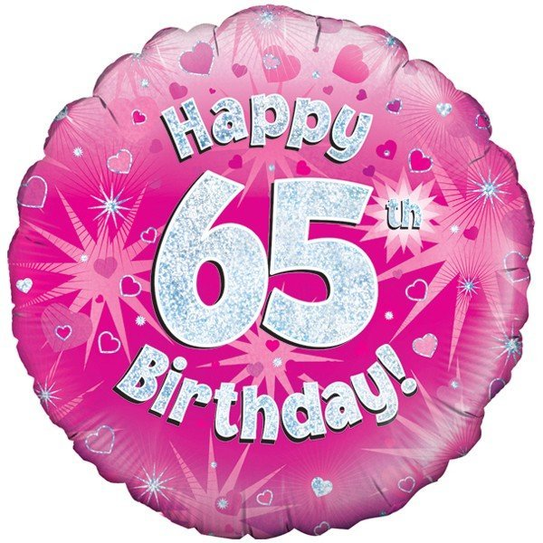 Oaktree 18 Inch Happy 65th Birthday Pink Holographic