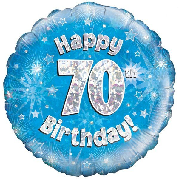 Oaktree 18 Inch Happy 70th Birthday Blue Holographic