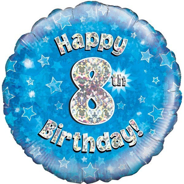 Oaktree 18 Inch Happy 8th Birthday Blue Holographic