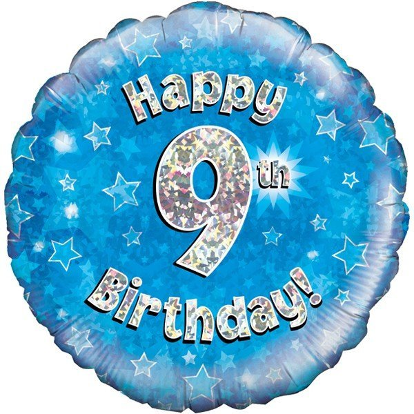 Oaktree 18 Inch Happy 9th Birthday Blue Holographic