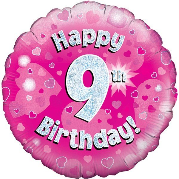 Oaktree 18 Inch Happy 9th Birthday Pink Holographic