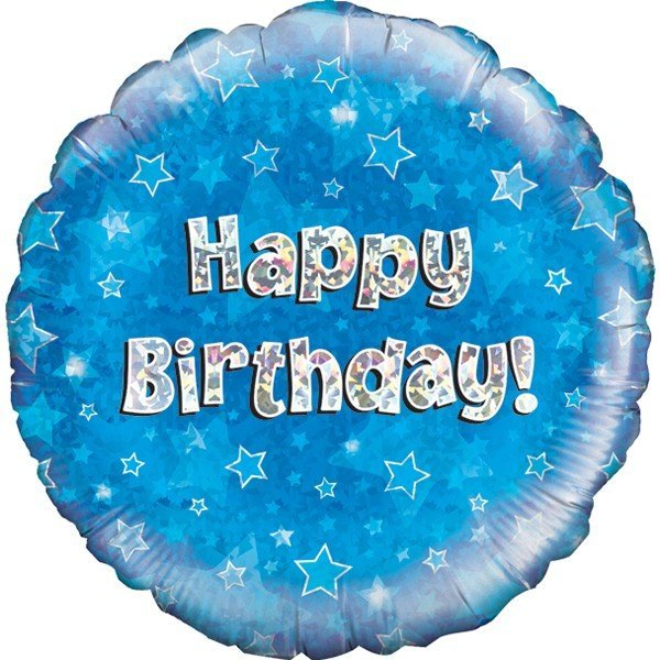 Oaktree 18 Inch Happy Birthday Blue Holographic
