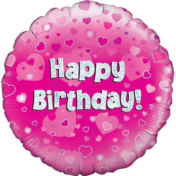 Oaktree 18 Inch Happy Birthday Pink Holographic