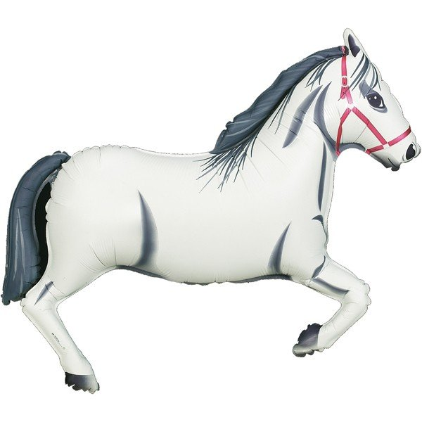 Oaktree Betallic 43 Inch Shape White Horse Packaged