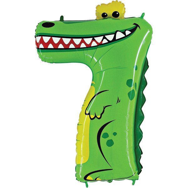 Oaktree Zooloons 40 Inch Plastic Number Balloon - 7 Crocodile