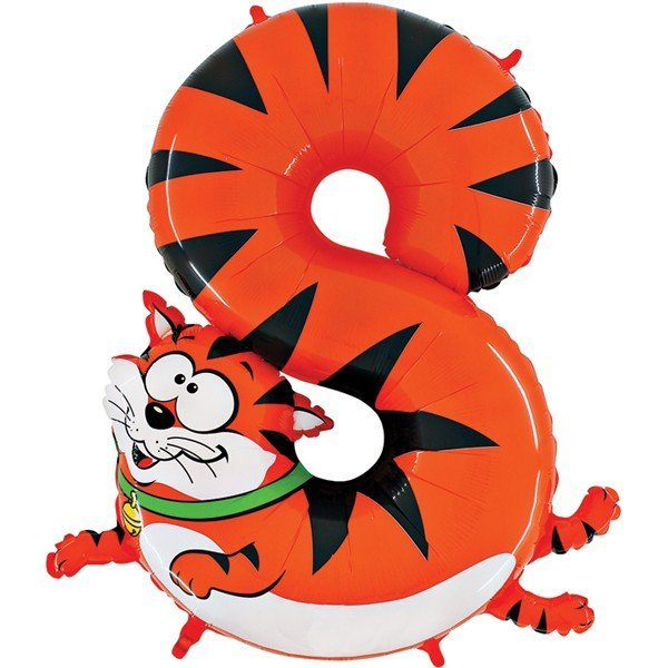 Oaktree Zooloons 40 Inch Plastic Number Balloon - 8 Cat