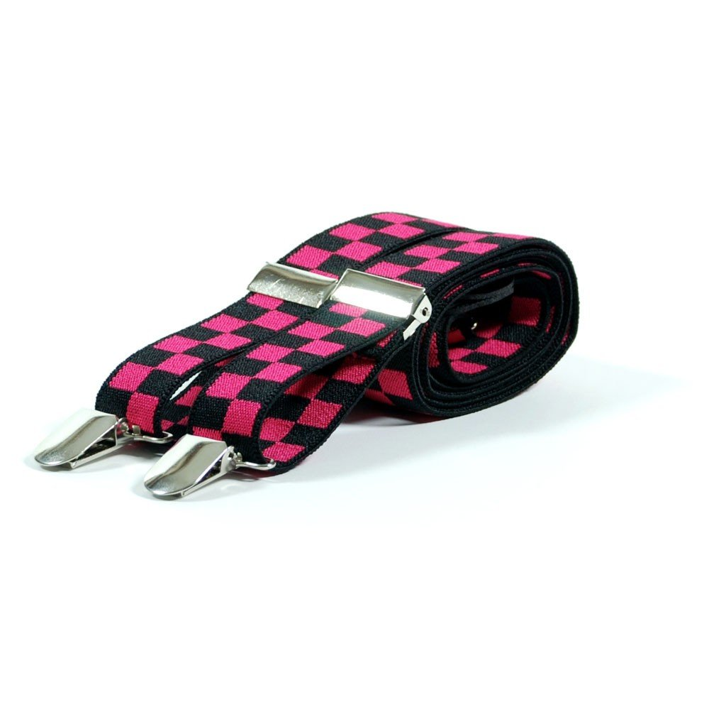 Unisex Printed Hot Pink & Black Chequered Fashion Braces