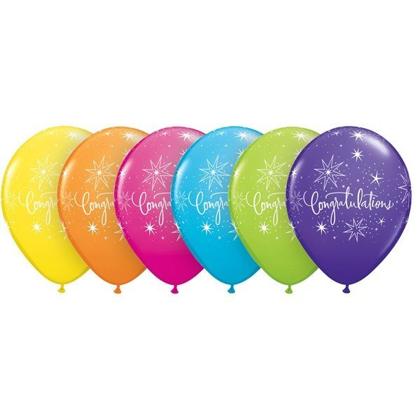 Qualatex 11 Inch Assorted Latex Balloon - Congratulations
