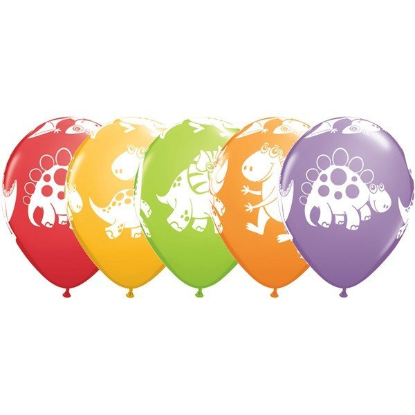 Qualatex 11 Inch Assorted Latex Balloon - Dinosaurs