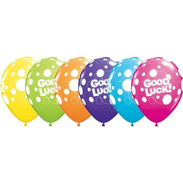 Qualatex 11 Inch Assorted Latex Balloon - Good Luck Dots