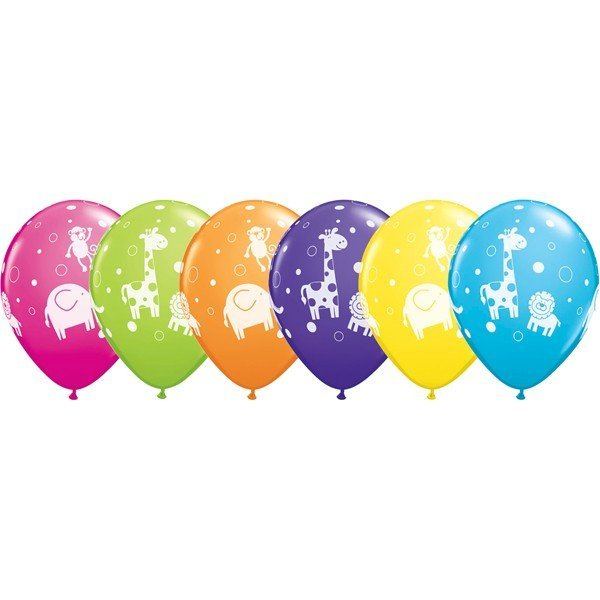 Qualatex 11 Inch Assorted Latex Balloon - Jungle Animals