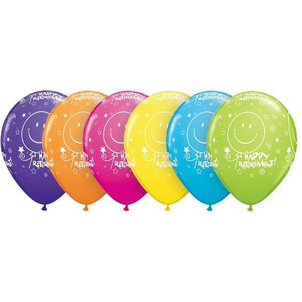 Qualatex 11 Inch Assorted Latex Balloon - Retirement Smile