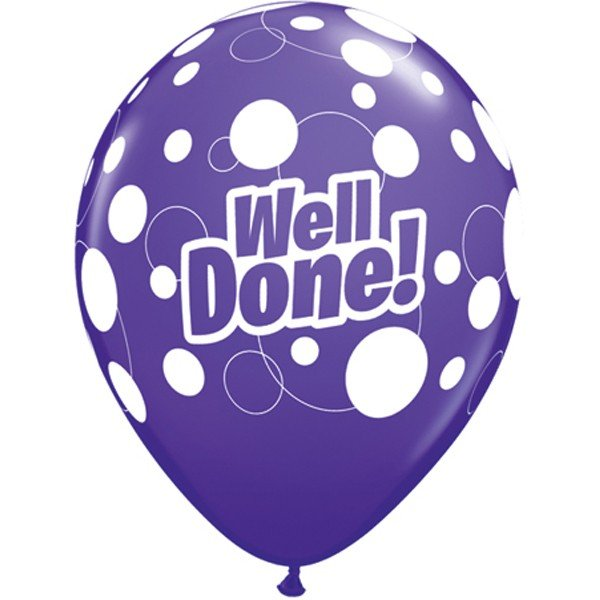 Qualatex 11 Inch Assorted Latex Balloon - Well Done Dots
