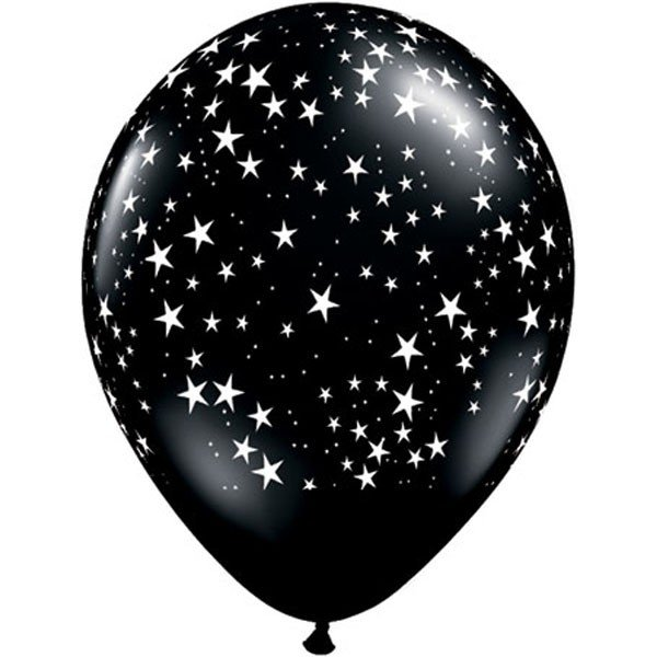 Qualatex 11 Inch Black Latex Balloon - Stars