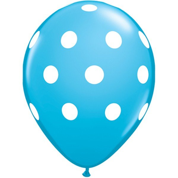 Qualatex 11 Inch Blue Latex Balloon - Big Polka