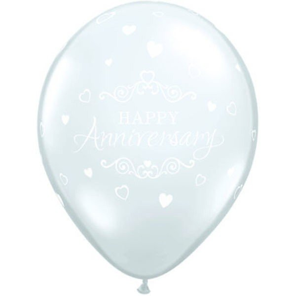 Qualatex 11 Inch Clear Latex Balloon - Anniversary