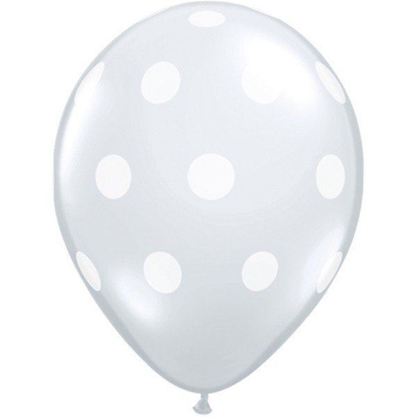 Qualatex 11 Inch Clear Latex Balloon - Big Polka