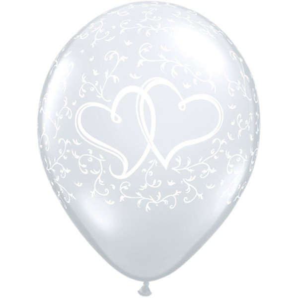 Qualatex 11 Inch Clear Latex Balloon - Entwined Hearts