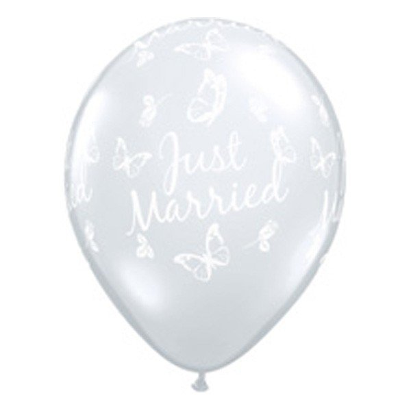 Qualatex 11 Inch Clear Latex Balloon - Just Married Butterflies