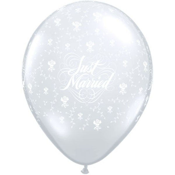 Qualatex 11 Inch Clear Latex Balloon - Just Married Flowers