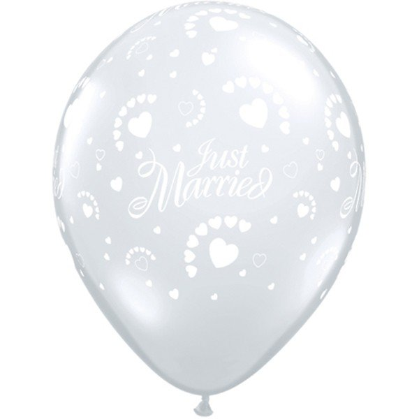 Qualatex 11 Inch Clear Latex Balloon - Just Married Hearts
