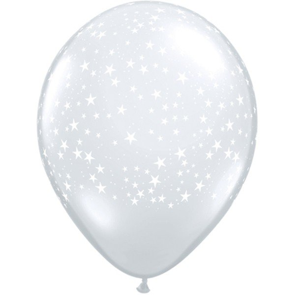 Qualatex 11 Inch Clear Latex Balloon - Stars