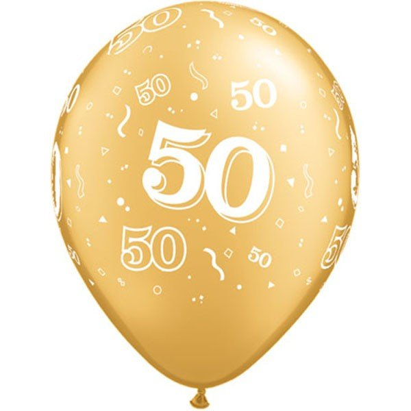 Qualatex 11 Inch Gold Latex Balloon - 50 Around