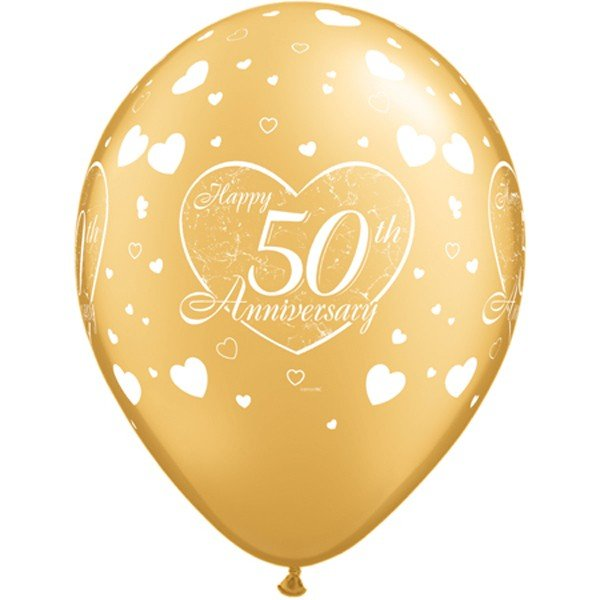 Qualatex 11 Inch Latex Balloon - 50th Anniversary