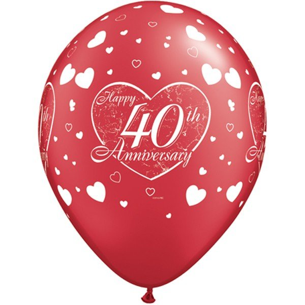 Qualatex 11 Inch Red Latex Balloon - 40th Anniversary