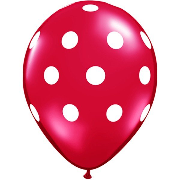 Qualatex 11 Inch Red Latex Balloon - White Polka