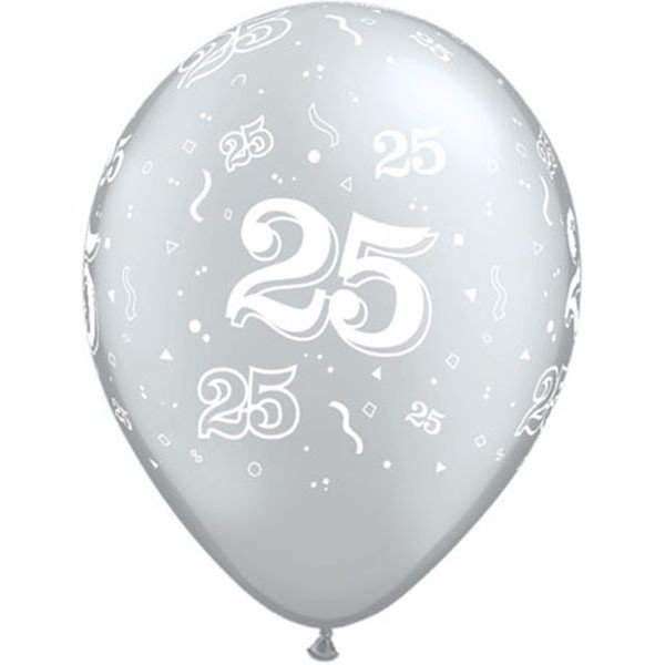 Qualatex 11 Inch Silver Latex Balloon - 25 Around