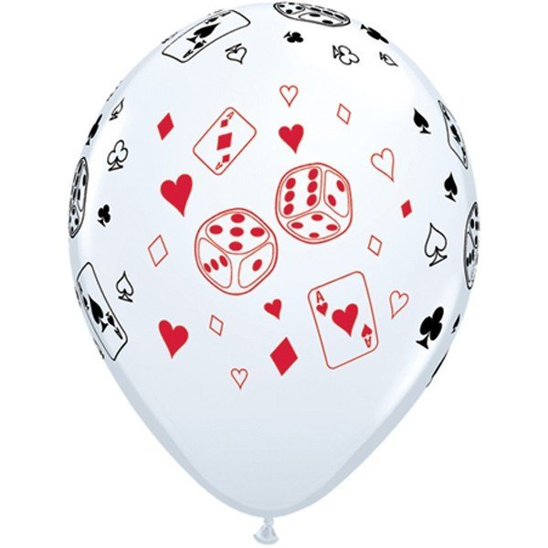 Qualatex 11 Inch White Latex Balloon - Cards Dice