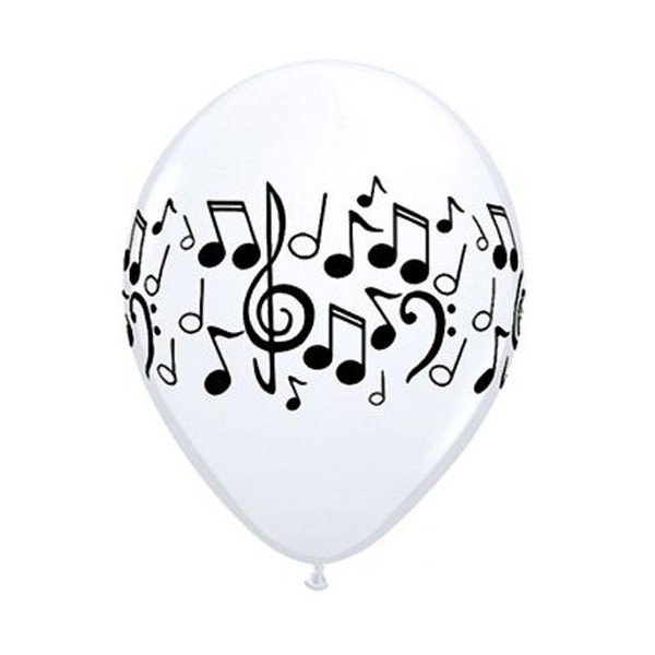 Qualatex 11 Inch White Latex Balloon - Music Notes