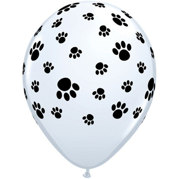 Qualatex 11 Inch White Latex Balloon - Paw Prints