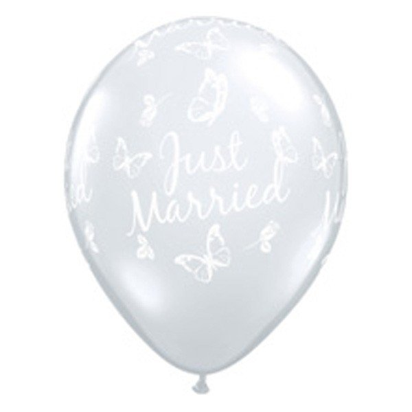 Qualatex 16 Inch Clear Latex Balloon - Just Married Butterflies