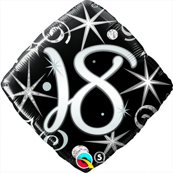 Qualatex 18 Inch Diamond Foil Balloon - 18 Elegant Sparkles & Swirls
