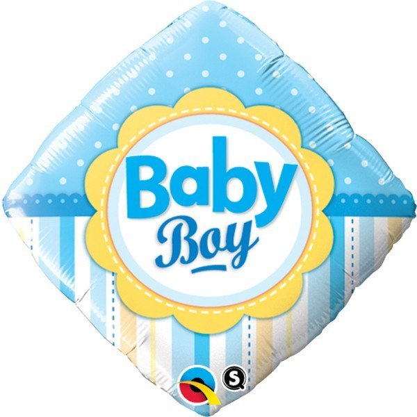 Qualatex 18 Inch Diamond Foil Balloon - Baby Boy Dots & Stripes