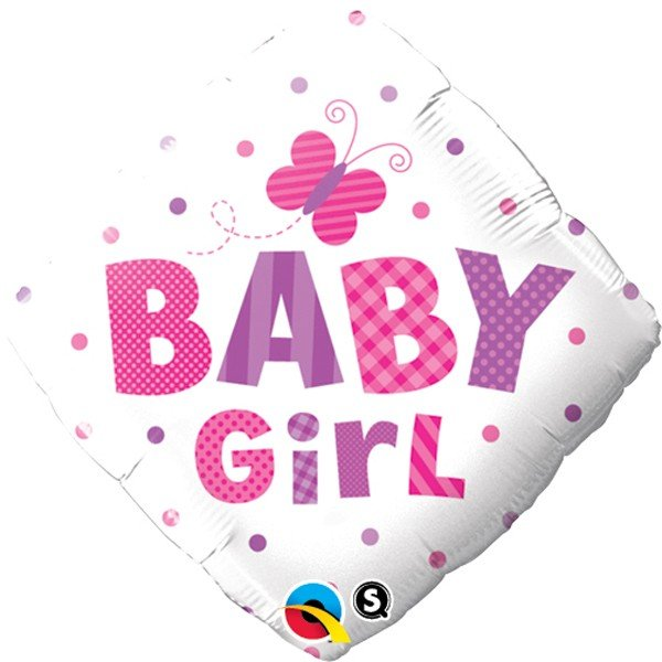 Qualatex 18 Inch Diamond Foil Balloon - Baby Girl Dots & Butterfly