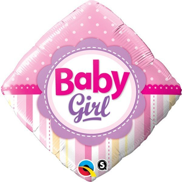 Qualatex 18 Inch Diamond Foil Balloon - Baby Girl Dots & Stripes