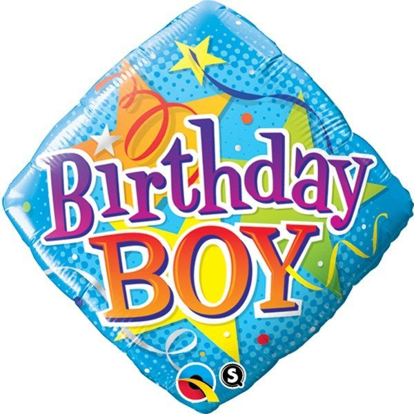 Qualatex 18 Inch Diamond Foil Balloon - Birthday Boy Stars