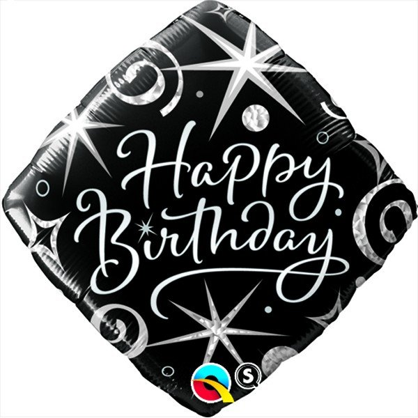 Qualatex 18 Inch Diamond Foil Balloon - Birthday Elegant Sparkles & Swirls