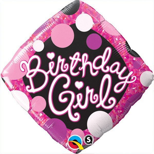 Qualatex 18 Inch Diamond Foil Balloon - Birthday Girl Pink & Black