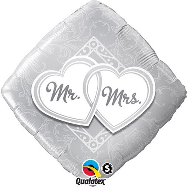 Qualatex 18 Inch Diamond Foil Balloon - Mr & Mrs Entwined Hearts