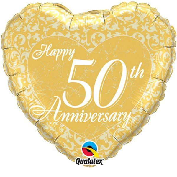 Qualatex 18 Inch Heart Foil Balloon - 50th Anniversary