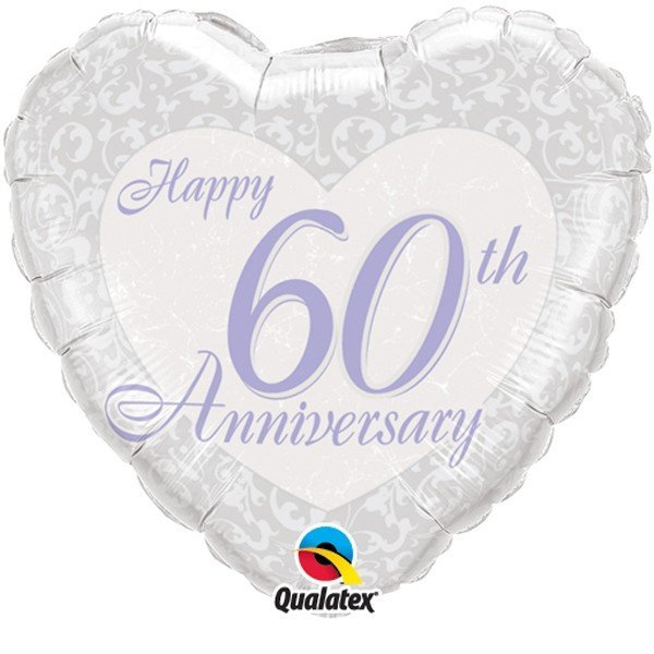 Qualatex 18 Inch Heart Foil Balloon - 60th Anniversary